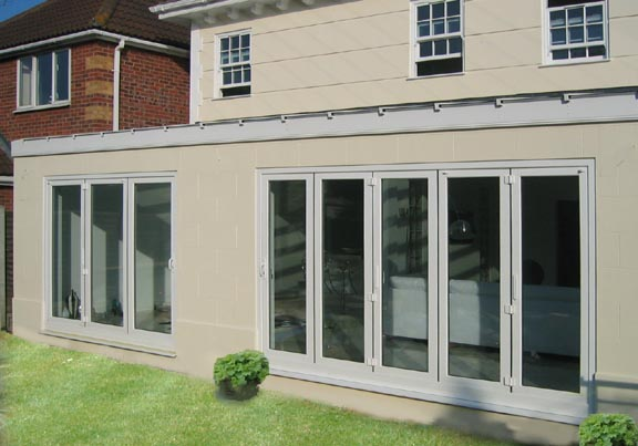 Bi Fold White patio doors